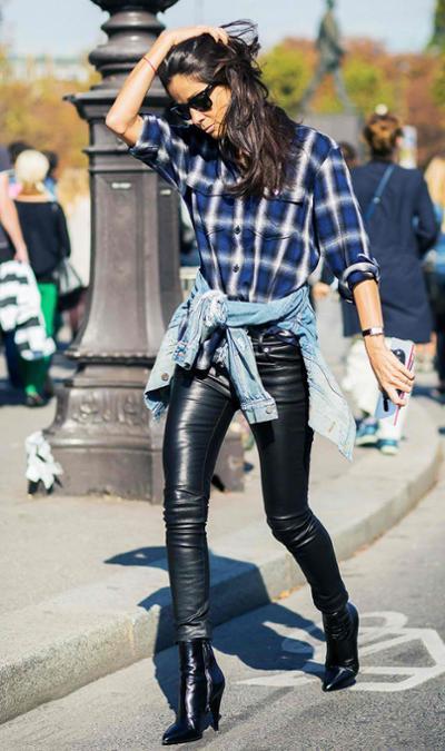 womens-fashion-outfit-leather-denim-plaid