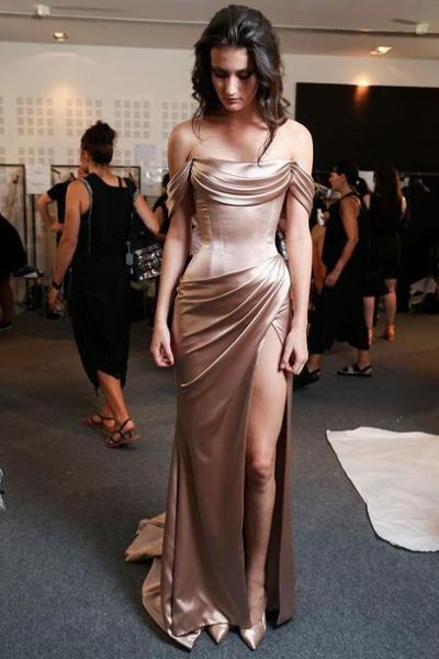womens-fashion-ootd-gold-copper-silk-and-satin-long-skirts
