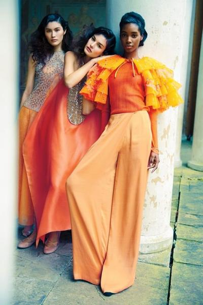 womens-style-inspiration-orange-sequins-ruffles