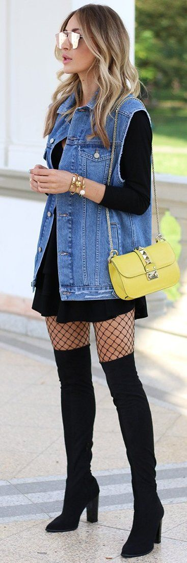 womens-fashion-inspiration-black-denim-mesh-tall-boots