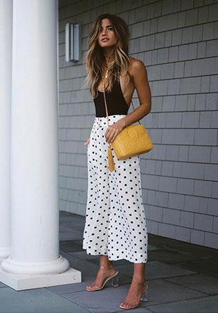 womens-fashion-ideas-polka-dots-black-and-white-long-skirts