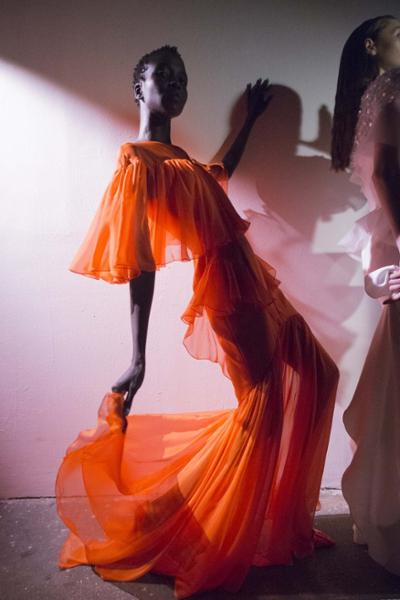 womens-style-inspiration-orange-transparent-ruffles-long-skirts