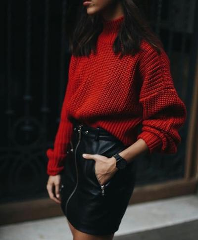 womens-style-inspiration-red-black-leather-turtlenecks