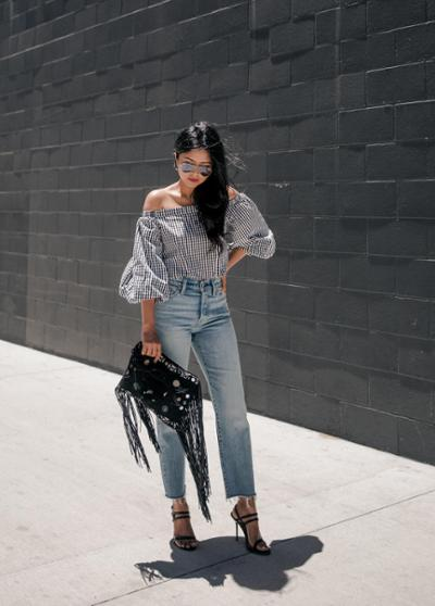 womens-fashion-outfit-denim-fringe-black-and-white-chic-sunglasses