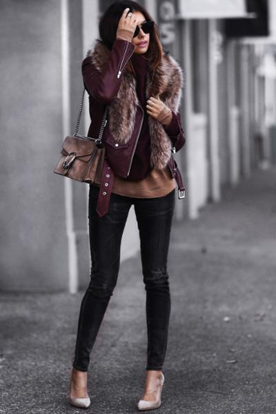 womens-fashion-ideas-leather-fur-burgundy-chic-sunglasses