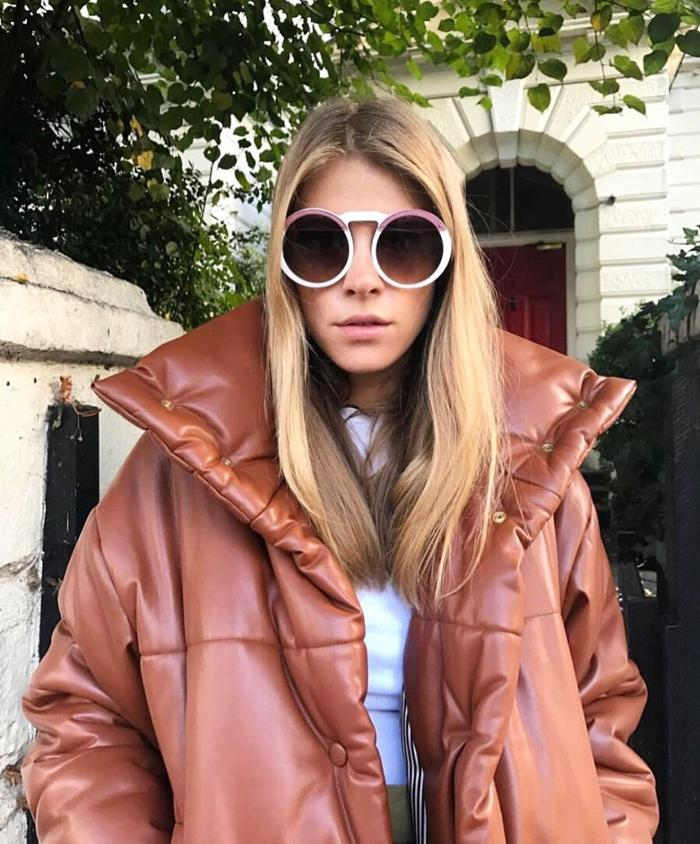 womens-fashion-outfit-white-brown-puffer-coats-chic-sunglasses