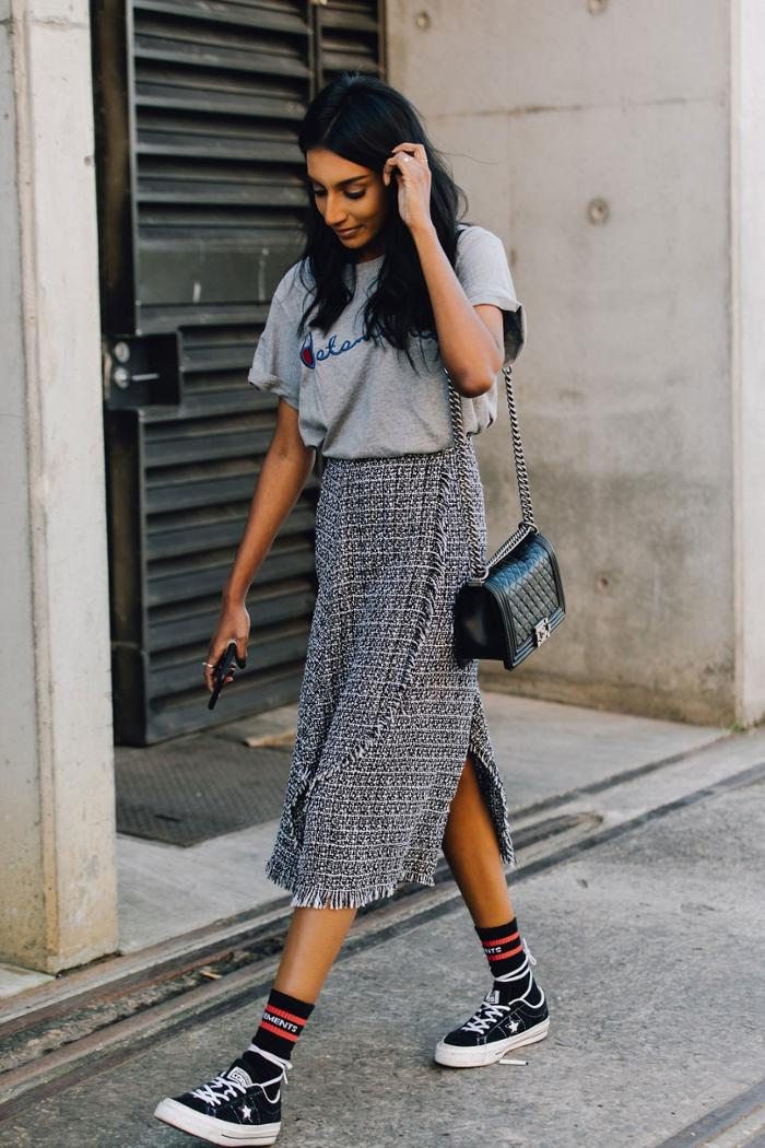 womens-fashion-outfit-grey-tweed-long-skirts