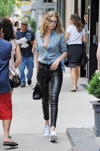 womens-fashion-ideas-black-denim-sportswear-skinny-pants