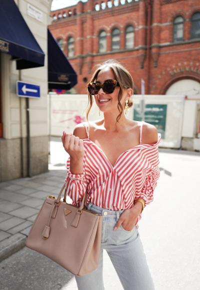 womens-fashion-ootd-denim-stripes-chic-sunglasses