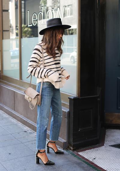 womens-style-inspiration-denim-fedora-hats-studs-stripes