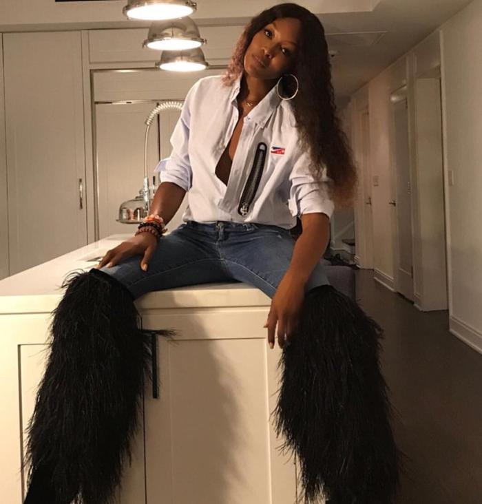 womens-fashion-ootd-denim-fringe-black-and-white-tall-boots