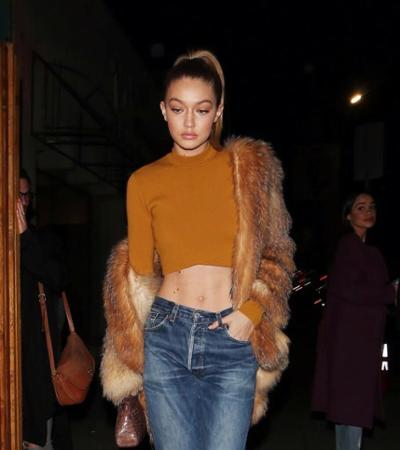 womens-fashion-outfit-copper-crop-tops-fur-boyfriend-jeans