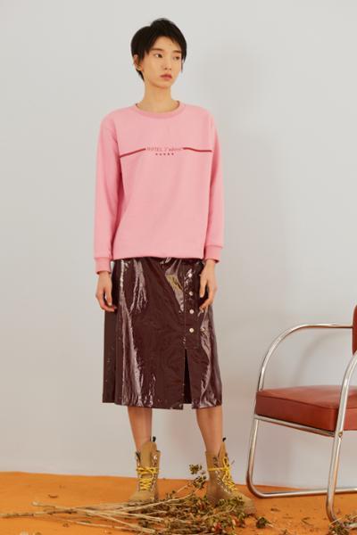womens-fashion-look-pink-plastic-burgundy-long-skirts