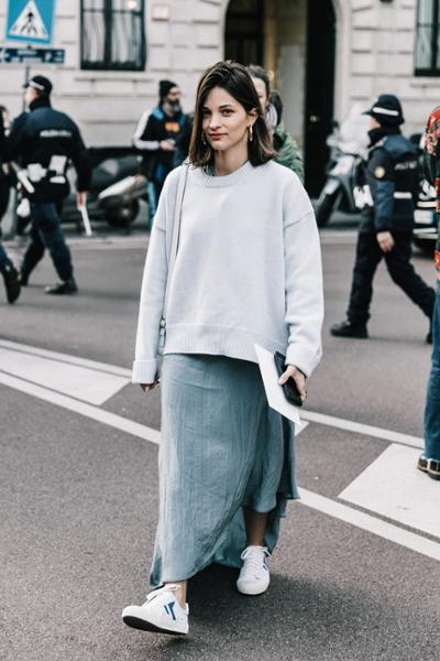 womens-fashion-ootd-white-one-color-wool-long-skirts