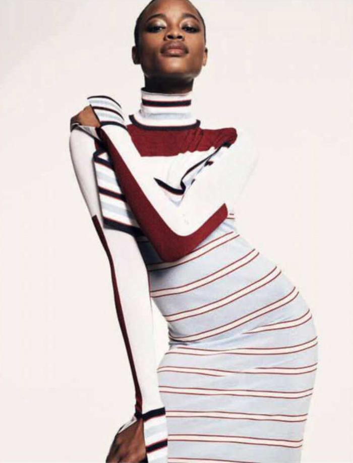 womens-fashion-outfit-multicolor-stripes-turtlenecks-long-skirts
