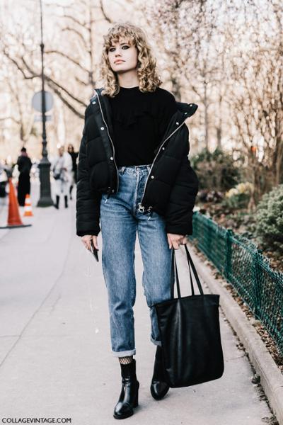 womens-fashion-ideas-black-denim-puffer-coats
