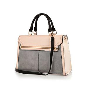 later outlet on sale cheap Women's handbag pink grey leather from river island | Sassique