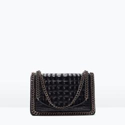 cdf10288 Women's shoulder bag black leather chains chain bags from zara ...