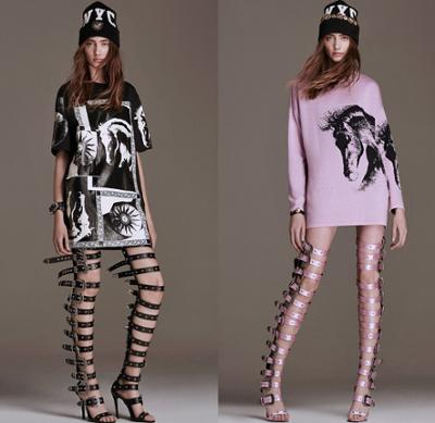womens-fashion-outfit-pink-leather-feathers-black-and-white