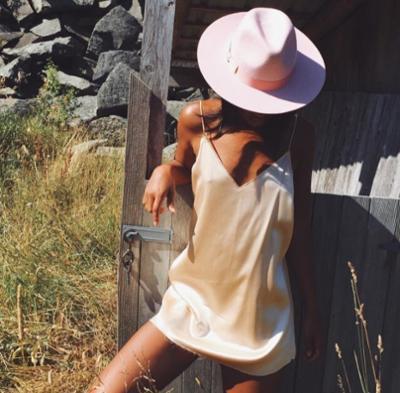 womens-fashion-photography-pink-fedora-hats-beige-silk-and-satin