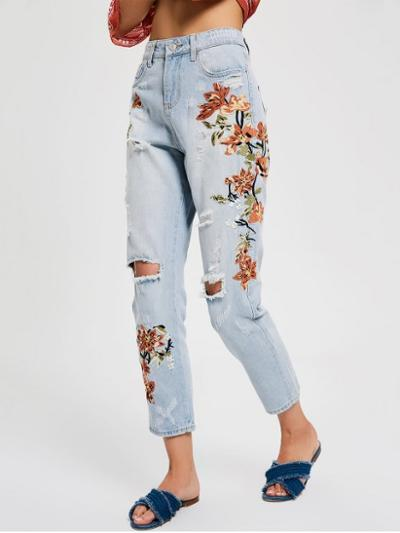 womens-fashion-ideas-florals-denim-ripped-embroidery