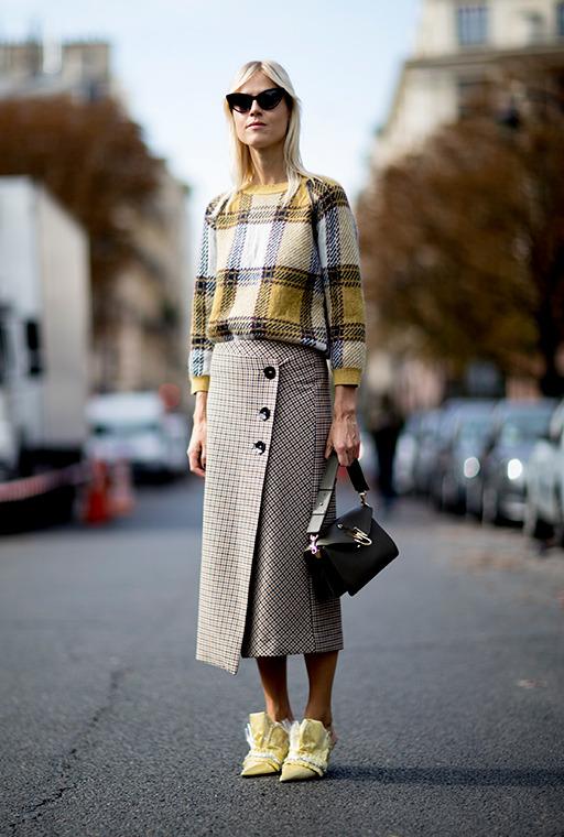 womens-fashion-ootd-yellow-plaid-tweed